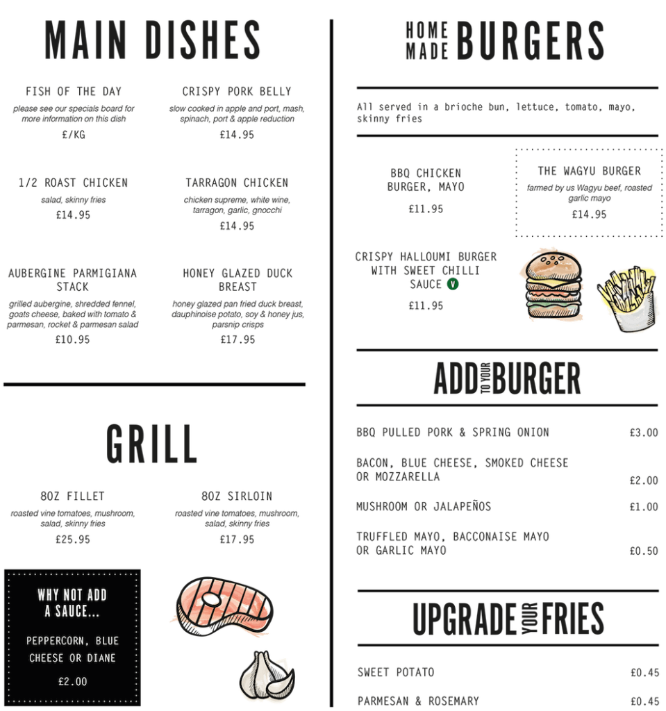 Berts Brandesburton grill, burgers and mains